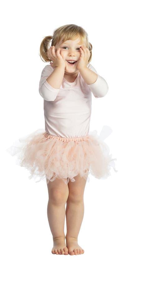 Isolated female child with tutu royalty free stock photo