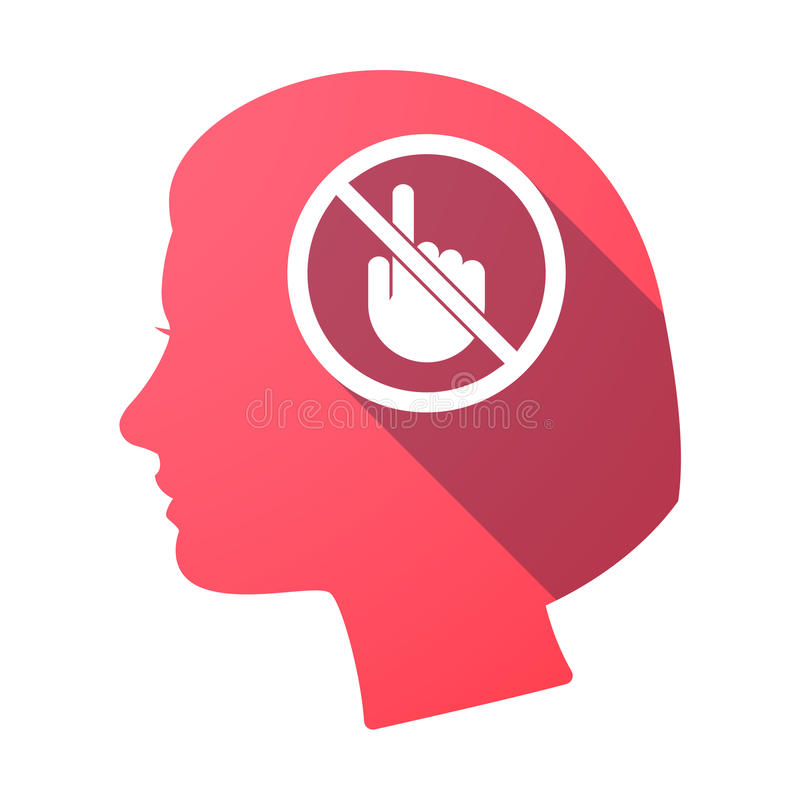 Isolated female head with a touching hand in a not allowed sig. Illustration of an isolated female head with a touching hand in a not allowed signal vector illustration