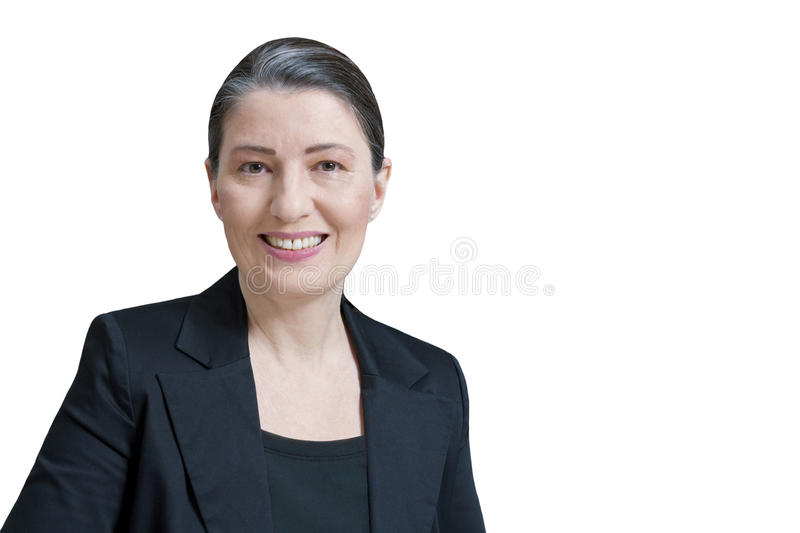 Isolated female lawyer attorney professor. Friendly smiling middle aged woman in a black blazer isolated on white background, professor, teacher, translator stock images