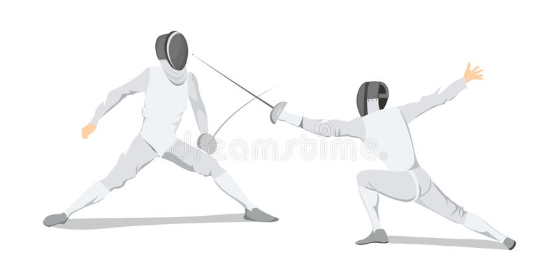 Isolated fencing athlete. Isolated fencing athlete on white background. Athlete in white outfit with mask and sword royalty free illustration