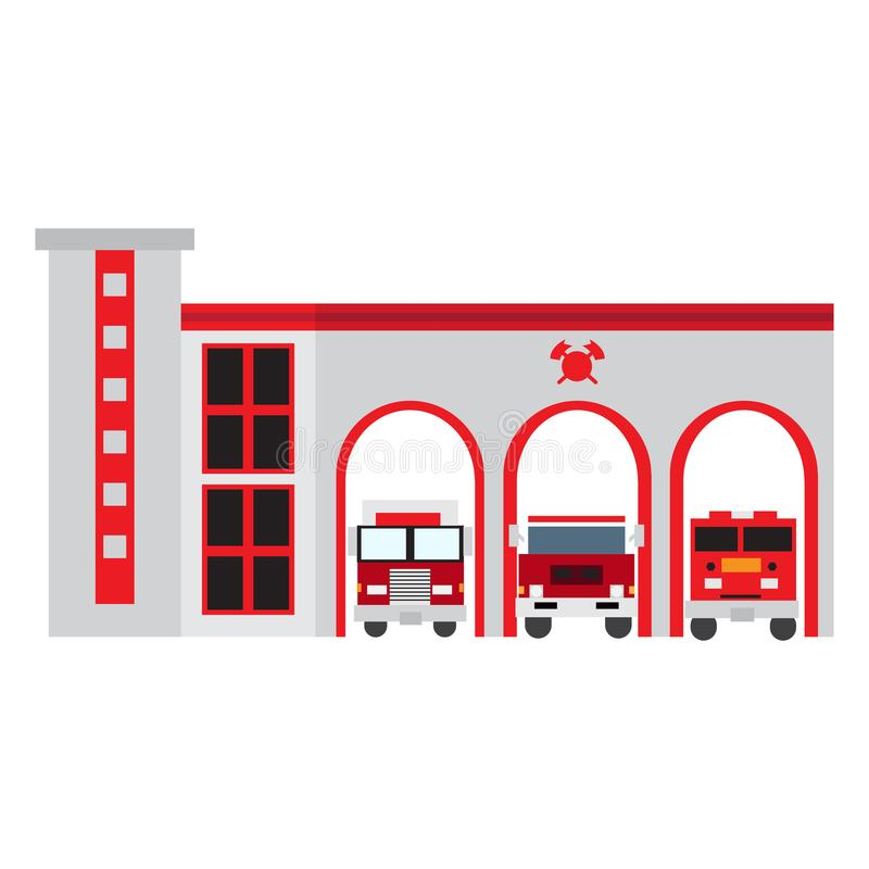 Isolated fire station vector illustration