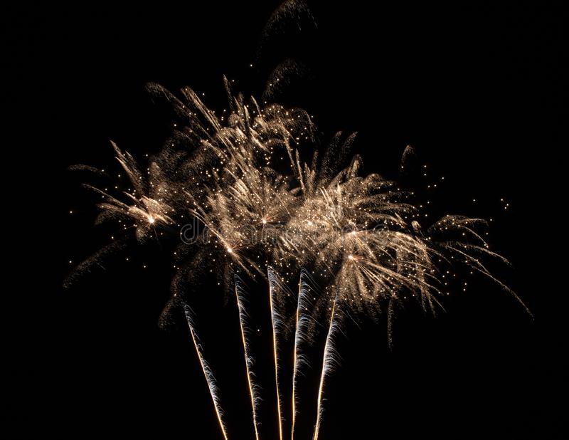 Isolated Fireworks on a Black Background stock photography