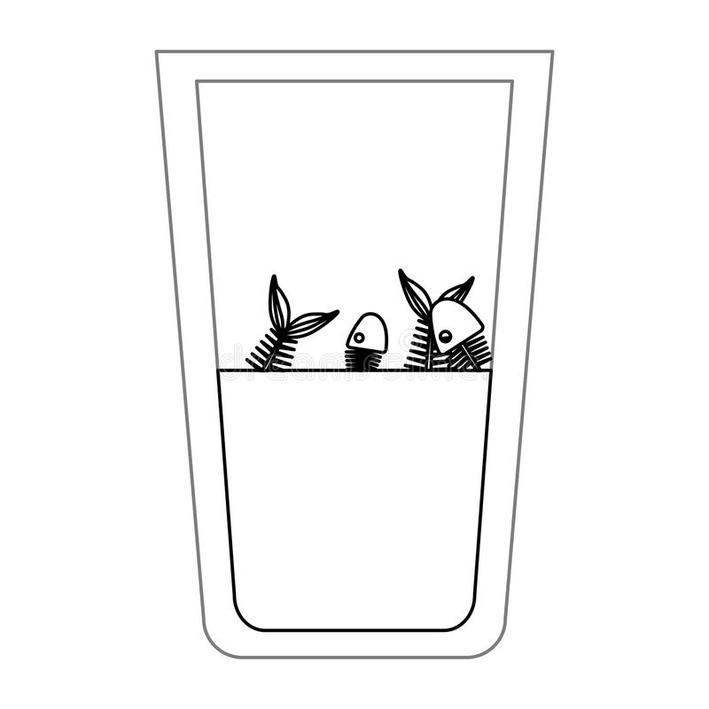 Isolated fish inside dirty water glass design. Fish inside dirty water glass icon. Pollution environment and ecology theme. Isolated design. Vector illustration stock illustration