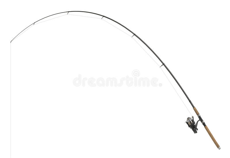 Isolated fishing pole. In white back royalty free stock photo