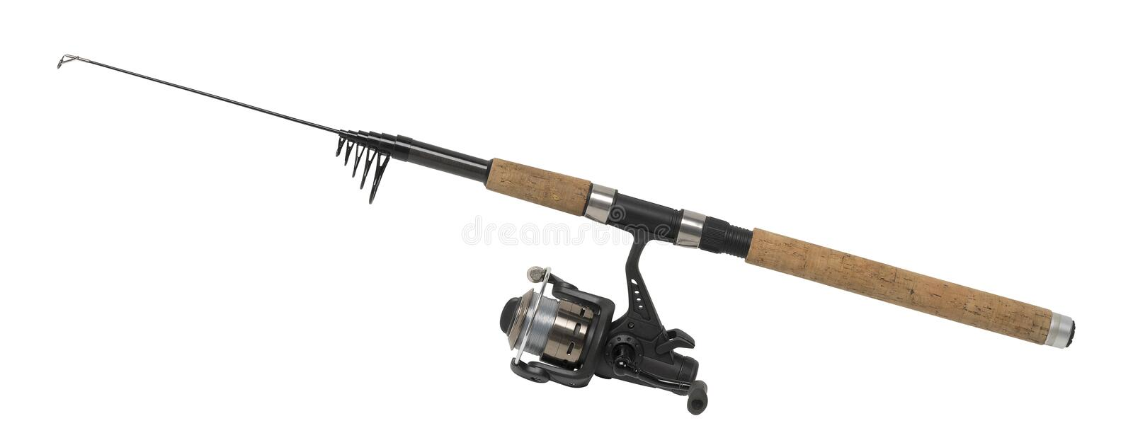 Isolated fishing pole. In white back royalty free stock image
