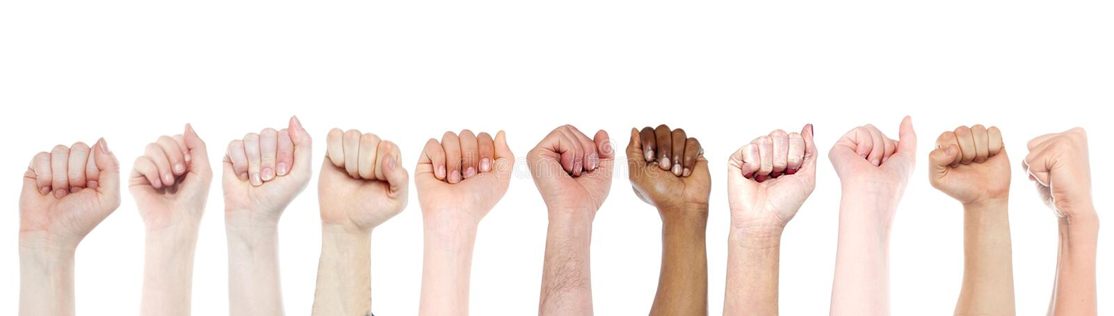 Isolated fists for protest, support concepts stock photography