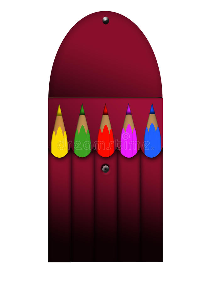 Isolated five colored pencils royalty free stock photography