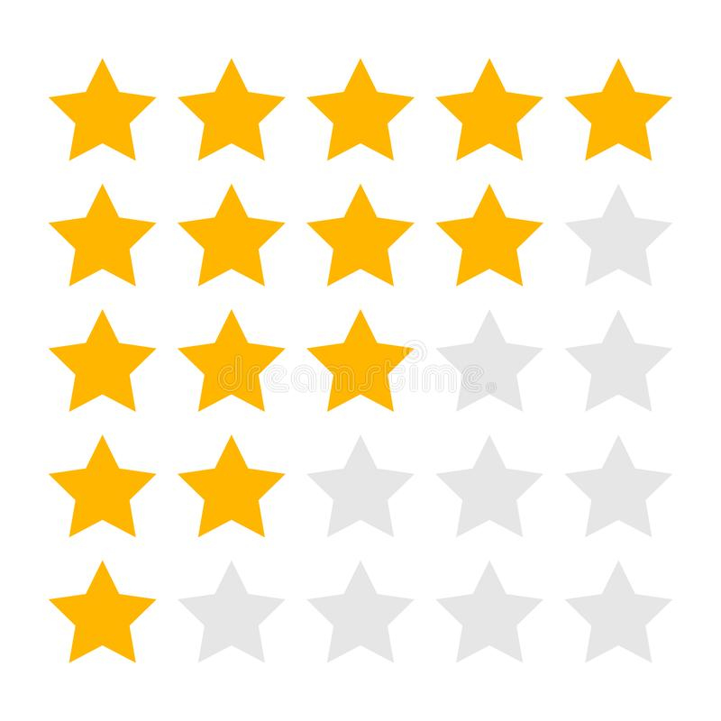 Isolated Five Four Three Two and One Star Rating Icons stock illustration