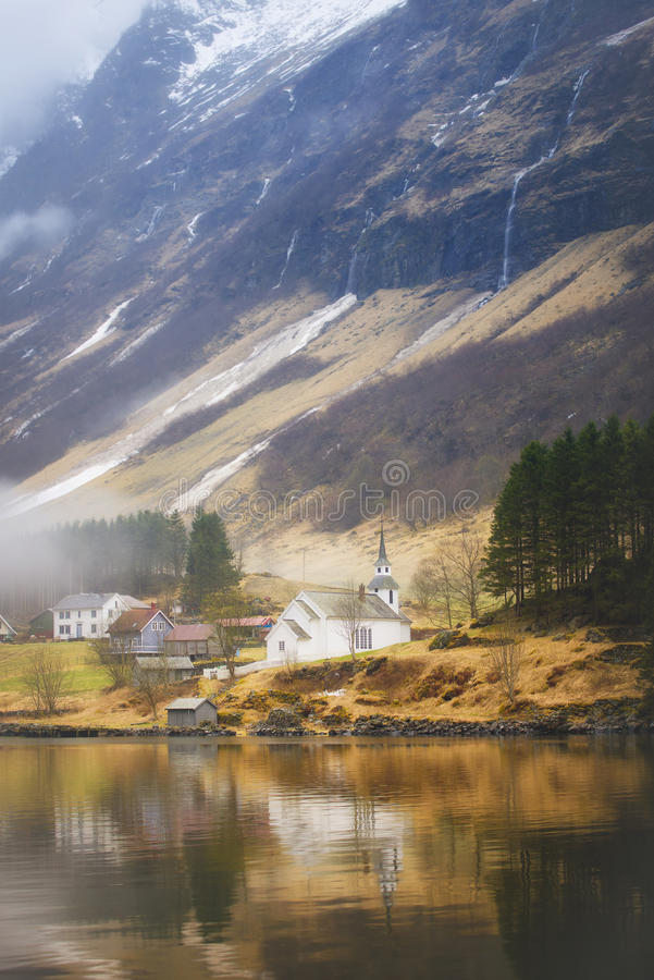 Isolated Fjord Community, Norway stock photos
