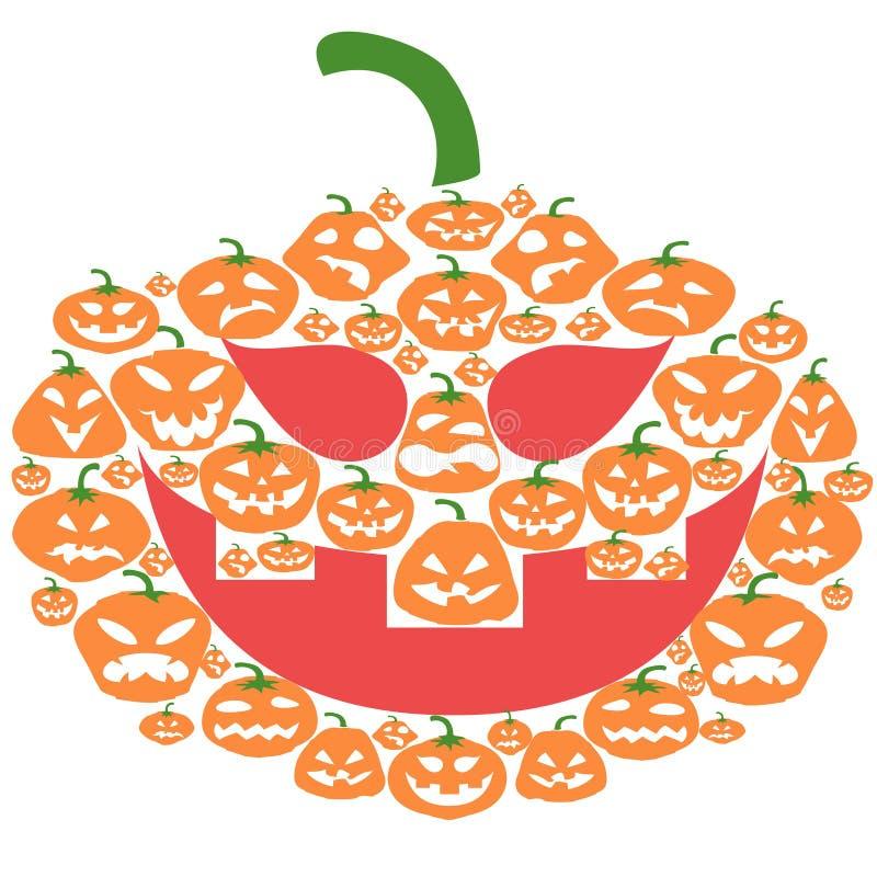 Flat cartoon Halloween pumpkin face stock illustration