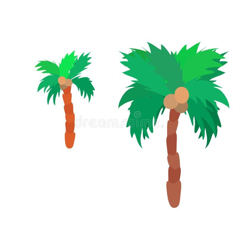 Isolated flat colorful palm tree logo set royalty free illustration
