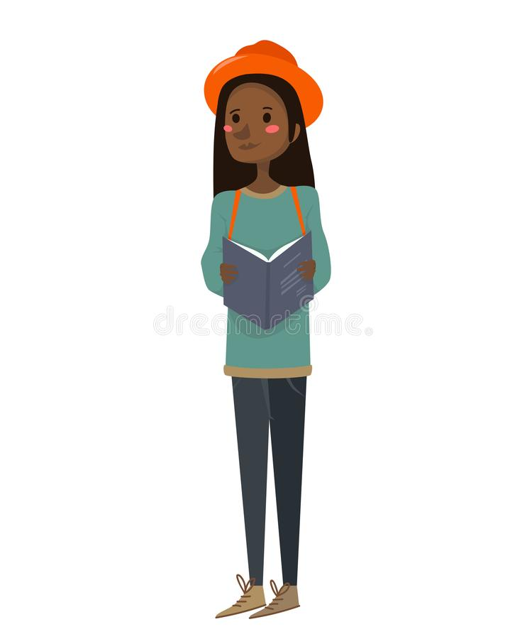 Isolated flat cute african-american girl holding a book, travel guide, wearing an orange hat, a green sweater and blue jeans. royalty free illustration