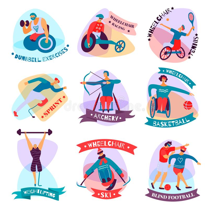 Disabled People Sport Flat Emblem Set. Isolated and flat disabled people sport emblem set with dumbbell exercises wheelchair racing tennis ski basketball and royalty free illustration