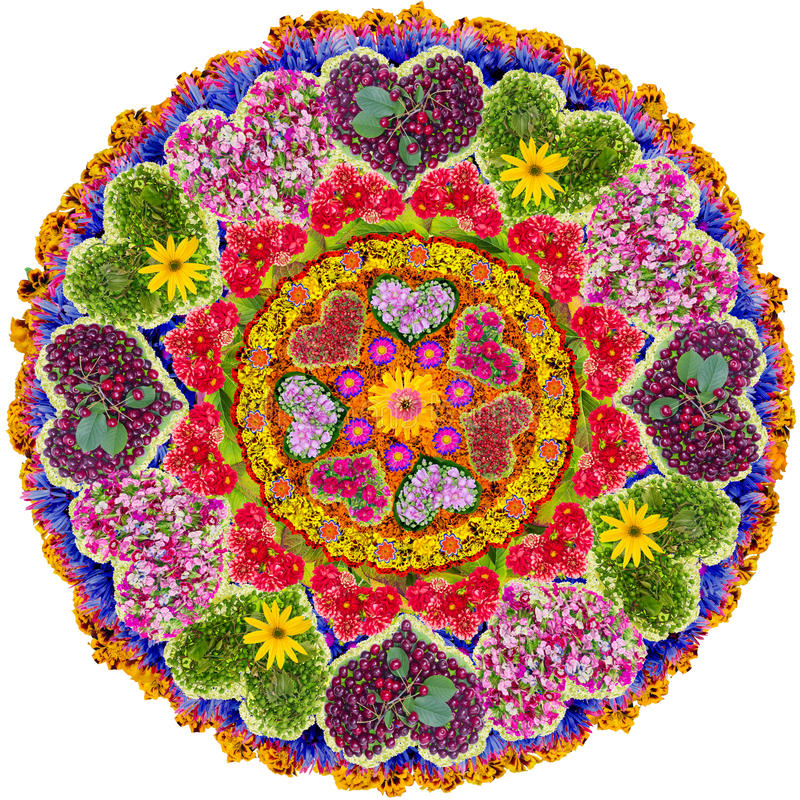 Isolated floral love mandala. Love Mandala - spiritual and ritual symbol in Buddhism,made from summer flowers. Isolated abstract collage royalty free stock photography