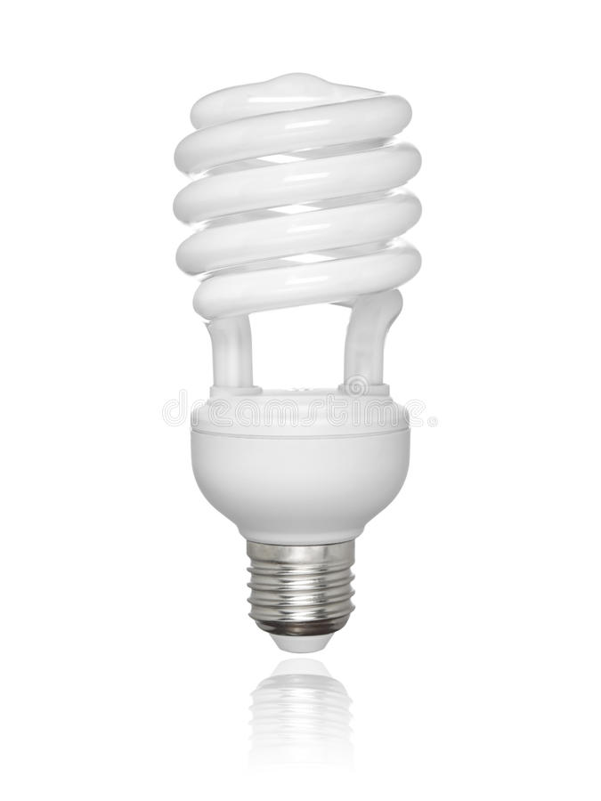 Isolated fluorescent light bulb stock images