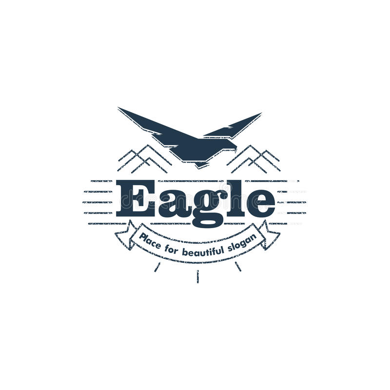 Isolated flying eagle silhouette vector logo. royalty free illustration