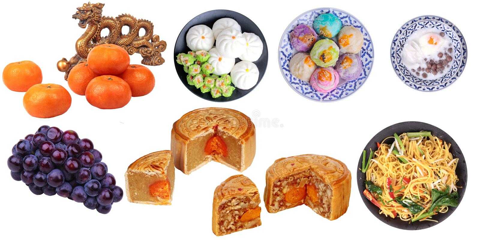 Isolated food for Chinese mooncake festival as friut, varities mooncake,fried chinese noodle and Chinese traditional desert royalty free stock photo