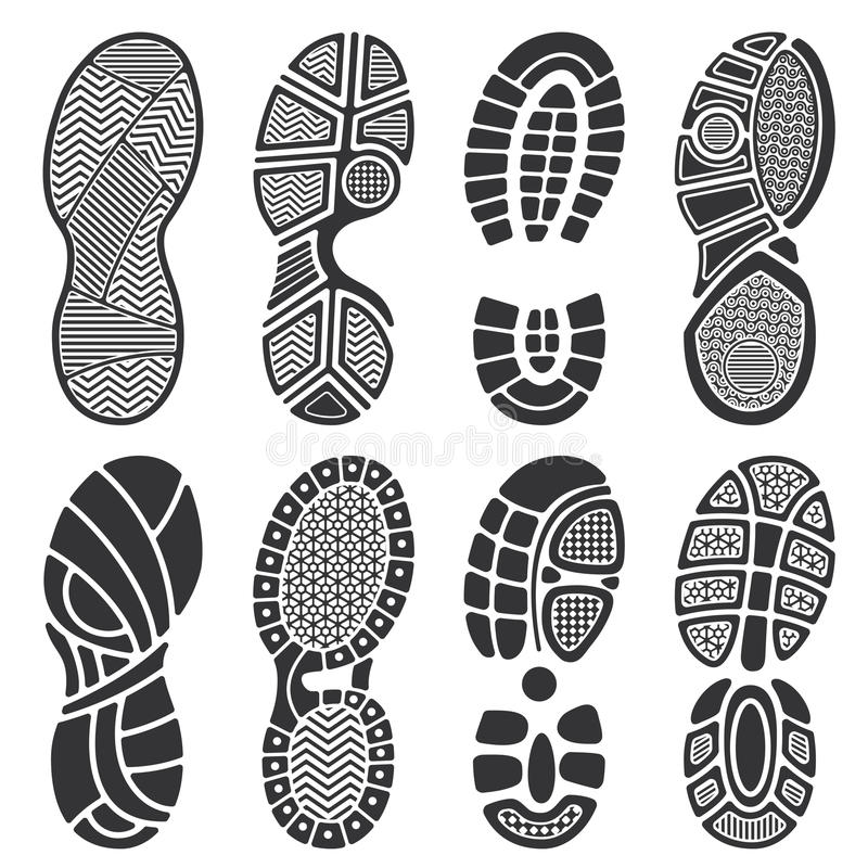 Isolated footprint vector silhouettes. Dirty shoes and sneakers footprints vector illustration