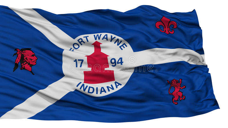 Isolated Fort Wayne City Flag, United States of America. Isolated Fort Wayne City Flag, City of Indiana State, Waving on White Background, High Resolution stock photos