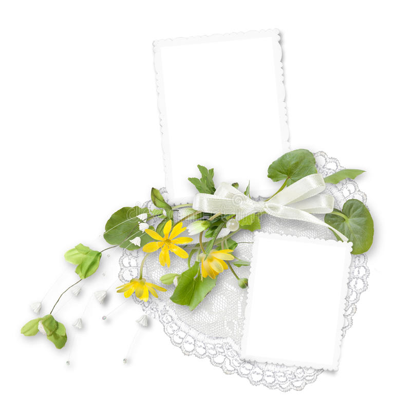 Free Isolated Frame For Two Photos With Yellow Flowers Royalty Free Stock Image - 20333176