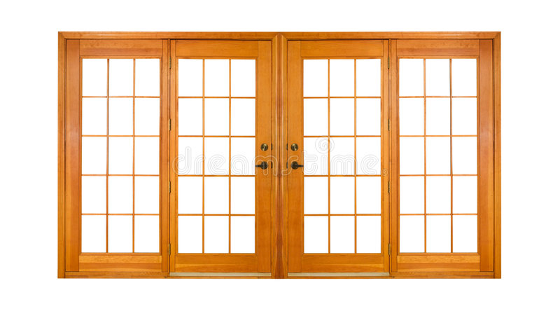 Isolated French Doors (clipping path) stock photography