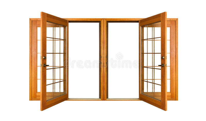 Isolated French Doors (clipping path) royalty free stock images