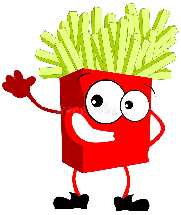 Colorful Isolated French fries cartoon royalty free illustration
