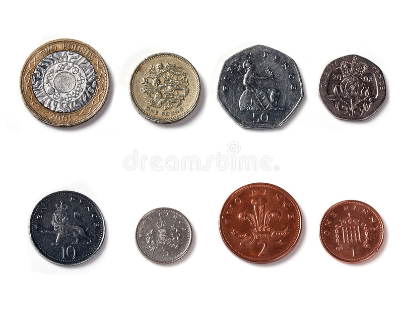 Download Isolated Front Facing Of Coins Of United Kingdom Stock Image - Image: 8479699