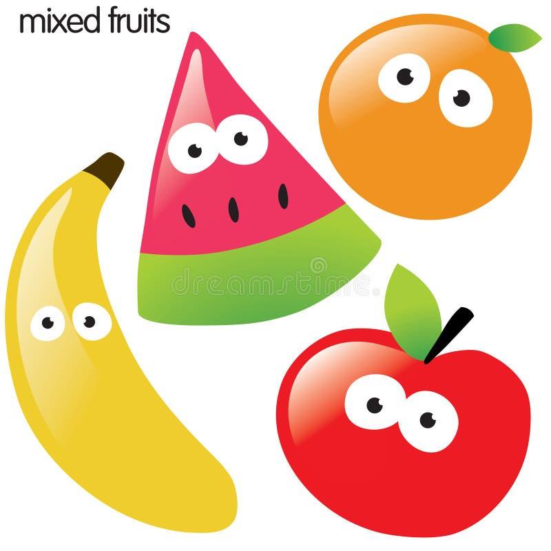 Isolated fruit set. With banana, watermelon, orange, and apple stock illustration