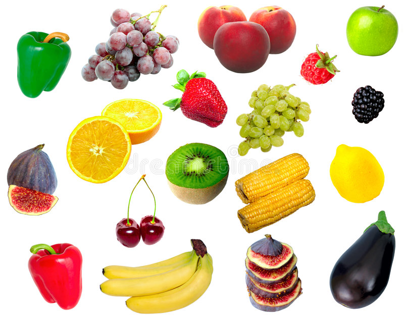 Isolated fruit and vegetables stock image