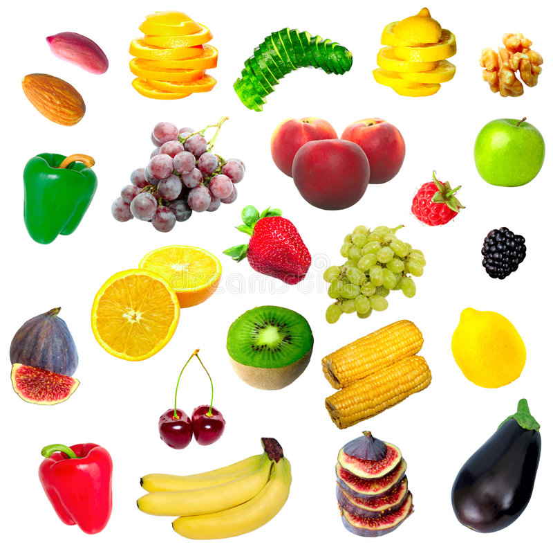Download Isolated Fruit, Vegetables And Nuts Stock Image - Image: 6766881