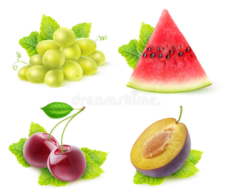 Isolated fruits with mint collection royalty free stock photos