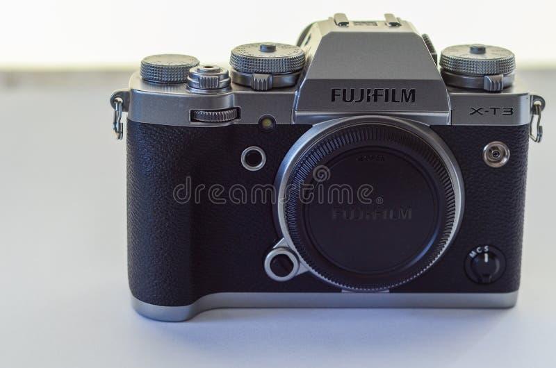 Isolated Fujifilm camera on white background. Eskisehir,TURKEY: March 01,2020: Isolated Fujifilm camera X-T3 on white background royalty free stock photos