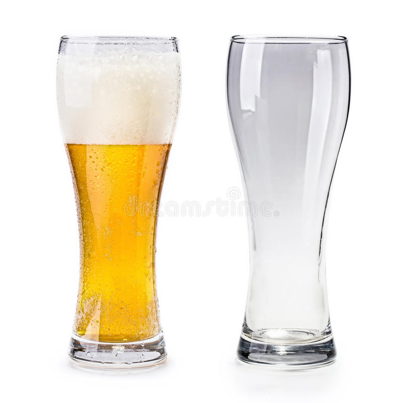 Isolated full and empty glass of beer stock image