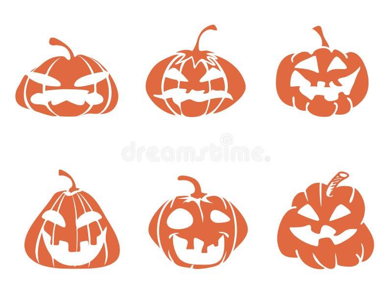 Funny cartoon halloween pumpkin icons stock illustration