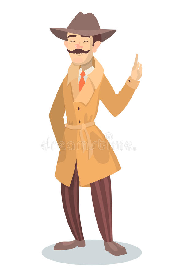 Isolated funny detective. royalty free illustration