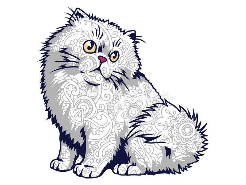 Download Isolated Funny Fat Cat In White Background Hand Drawn Doodle For Adult Stress Release