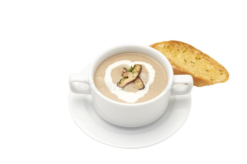 Isolated and clipping path of Garlic bread with mushroom soup in bowl. stock photo