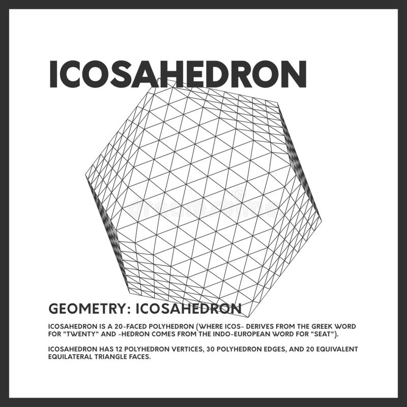 Isolated geometrical low poly icosahedron render. Vector monochrome illustration on light background. Original minimal linear d20 royalty free illustration