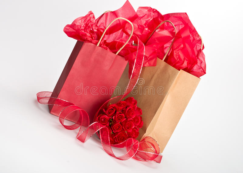 Isolated gift bags royalty free stock photography