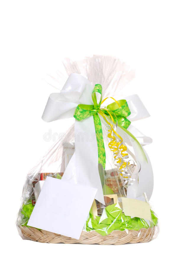 Isolated gift basket. On a white background royalty free stock image