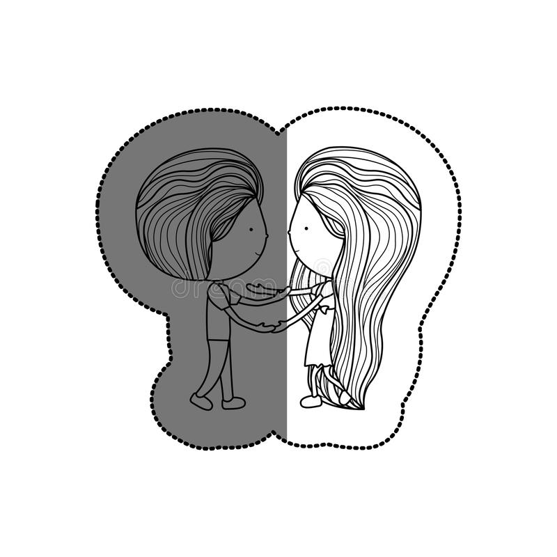 Isolated girl and boy cartoon design. Girl and boy cartoon icon. Couple relationship family love and romance theme. Isolated design. Vector illustration vector illustration