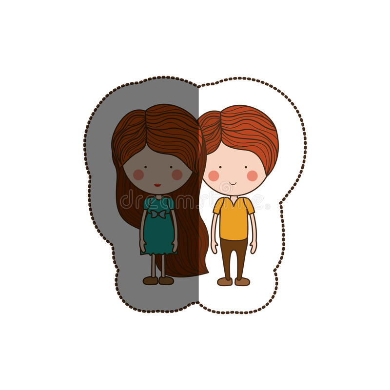Isolated girl and boy cartoon design. Girl and boy cartoon icon. Couple relationship family love and romance theme. Isolated design. Vector illustration stock illustration