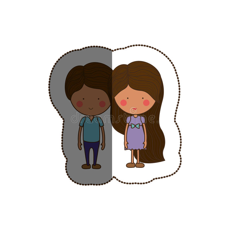 Isolated girl and boy cartoon design. Girl and boy cartoon icon. Couple relationship family love and romance theme. Isolated design. Vector illustration royalty free illustration