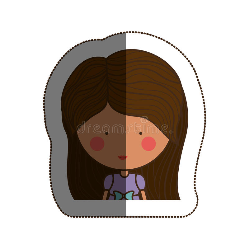 Isolated girl cartoon design. Girl cartoon icon. Kid childhood little and people theme. Isolated design. Vector illustration royalty free illustration