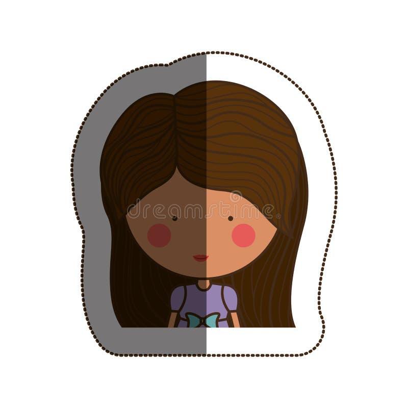 Isolated girl cartoon design. Girl cartoon icon. Kid childhood little and people theme. Isolated design. Vector illustration royalty free illustration