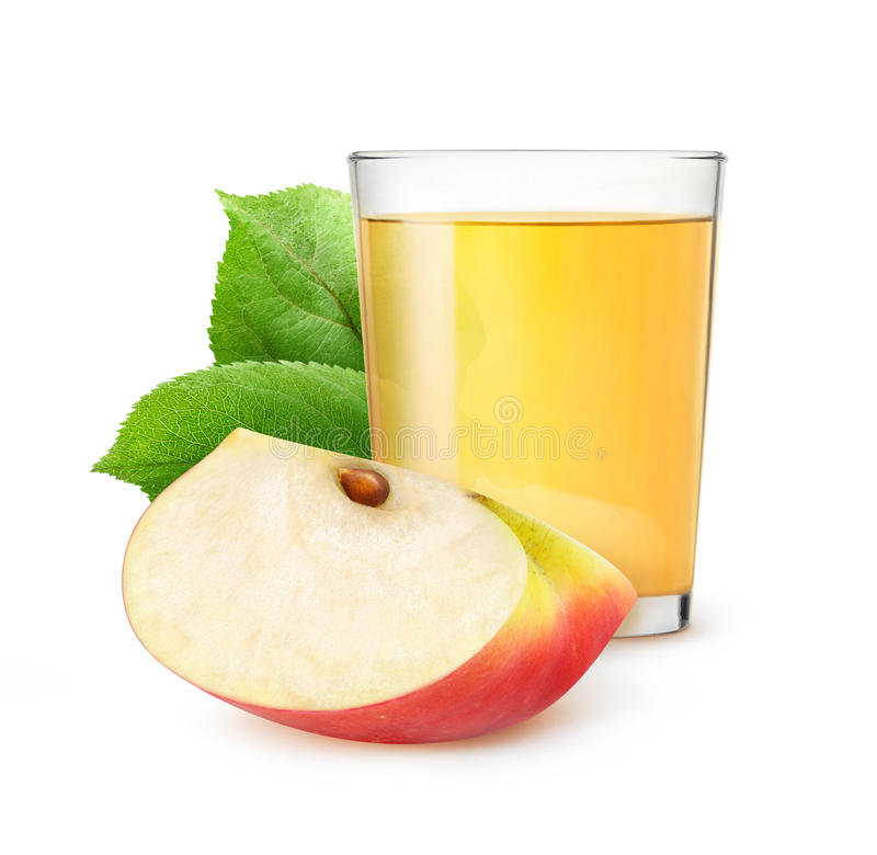 Isolated glass of apple juice stock photography