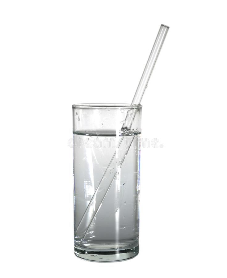 Isolated glass of water with glass drinking straw. object, beverage. Isolated glass of pure water with glass drinking straw. object, beverage royalty free stock photos