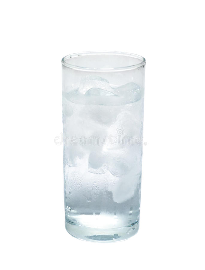 Isolated glass of water with ice. object, beverage. Isolated glass of pure water with ice. object, beverage stock image