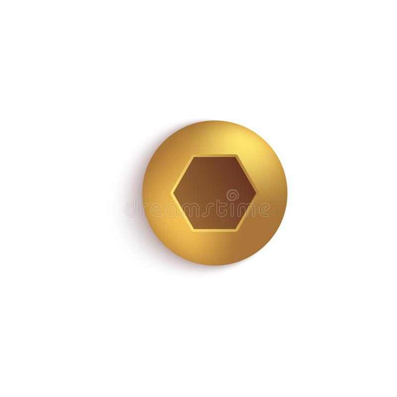 Free Isolated Gold Metal Screw Head With Button Hexagon Socket On Domed Round Cap. Stock Photography - 184341832